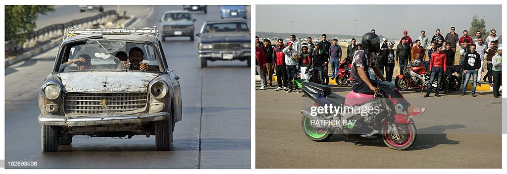 IRAQ -- A combo made of two pictures taken in Iraq, shows on the left a man driving a wrecked car on October 24, 2003 in Baghdad and on the right a young man performing on his motorbike during a motor show on February 8, 2013 in the Baghdad's district of al-Jadriya. Iraq is due to mark the tenth anniversary of the US-led invasion that toppled late former Iraqi president Saddam Hussein on March 20, 2013.
