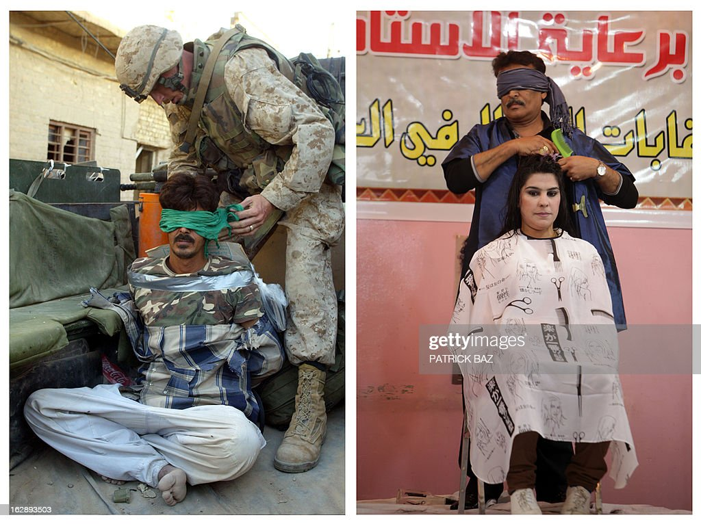 IRAQ -- A combo made of two pictures taken in Iraq, shows on the left an US marine blindfolding an alleged insurgent on November 12, 2004 in Fallujah and on the right a blindfolded Iraqi hairdresser competing on stage during a hairdressers and make up artists festival on February 9, 2013 in Baghdad. Iraq is due to mark the tenth anniversary of the US-led invasion that toppled late former Iraqi president Saddam Hussein on March 20, 2013.