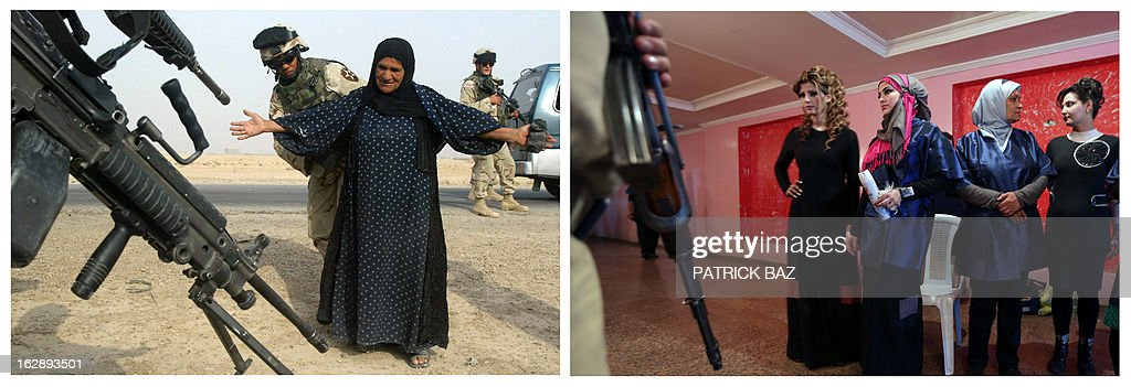 IRAQ === A combo made of two pictures taken in Iraq, shows on the left an US Army female soldier with the 2-17 Field Artillery Regiment, frisking a Kurdish Iraqi woman at a checkpoint on October 25, 2004 in Ramadi, west of Baghdad and on the right an armed guard standing at the door in front of models during a hairdressers and make up artists festival on February 9, 2013 in Baghdad. Iraq is due to mark the tenth anniversary of the US-led invasion that toppled late former Iraqi president Saddam Hussein on March 20, 2013.