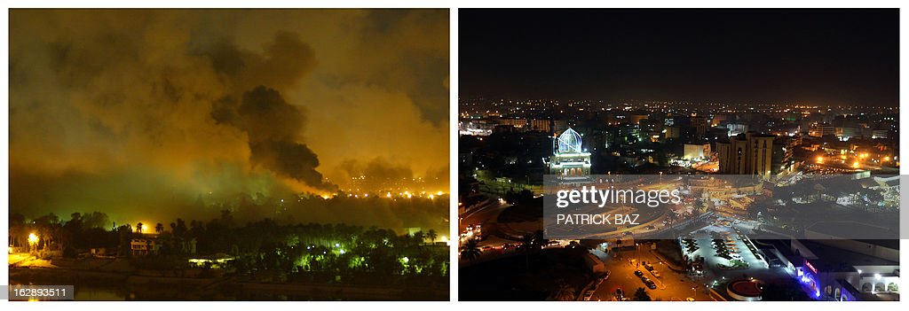 IRAQ -- A combo made of two pictures taken in Iraq, shows on the left smoke covering the presidential palace during a massive US-led air raid on March 21, 3003 in Baghdad and on the right a night view of Baghdad's Fardoos square taken from the rooftop of the capital's Hotel Palestine on February 9, 2013. Iraq is due to mark the tenth anniversary of the US-led invasion on March 20, 2013. AFP PHOTO/PATRICK BAZ