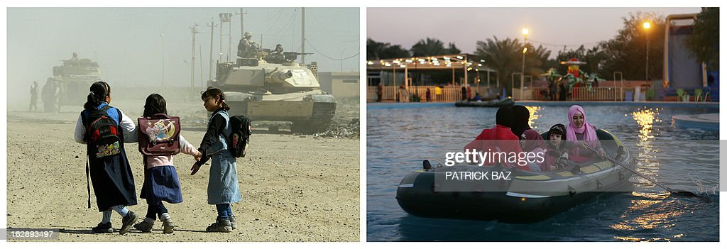 IRAQ -- A combo made of two pictures taken in Iraq, shows on the left schoolgirls walking past tanks of US soldiers patrolling on November 5, 2003 in Baghdad's suburb of Abu Gharib and on the right women and kids aboard a rubber dinghy at an amusement park on February 4, 2013 in Baghdad. Iraq is due to mark the tenth anniversary of the US-led invasion that toppled late former Iraqi president Saddam Hussein on March 20, 2013.