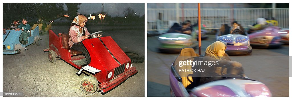 IRAQ -- A combo made of two pictures taken in the Iraqi capital Baghdad, shows on the left a girl driving a makeshift bumper car on February 16, 1998 during the UN embargo imposed on Iraq and on the right a woman driving a bumper car at an amusement park on February 4, 2013. THIS COMBO IS PART OF AN AFP PHOTO PACKAGE FOR THE 10TH ANNIVERSARY OF THE US INVASION OF IRAQ AFP PHOTO/PATRICK BAZ
