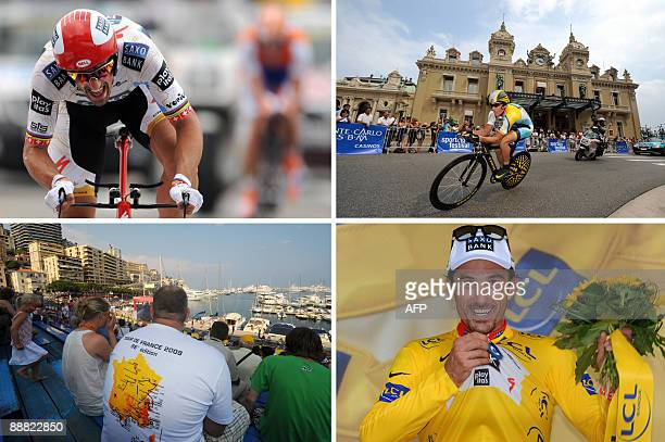 A combo made on July 4 2009 shows during the 15km individual timetrial and first stage of the 2009 Tour de France cycling race run around Monaco...