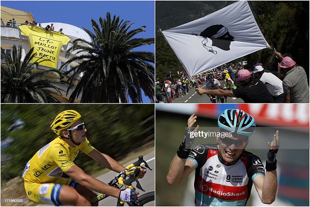A combo made on June 30, 2013 in Ajaccio, shows, from top, LtoR, a giant yellow jersey is suspended from a balcony, France's Blel Kadri leads the breakaway as fans holds a flag bearing the Moor's Head, the official Corsican symbol ; Overall leader's yellow jersey Germany's Marcel Kittel riding in the pack ; and Belgium's Jan Bakelants celebrating after winning the 156 km second stage of the 100th edition of the Tour de France cycling race on June 30, 2013 between Bastia and Ajaccio, on the French Mediterranean Island of Corsica.