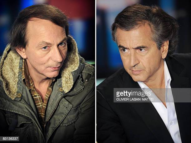 A combo made on October 5 shows French bestselling authors Michel Houellebecq and Bernard HenriLevy during an interview on the France 2 state TV news...