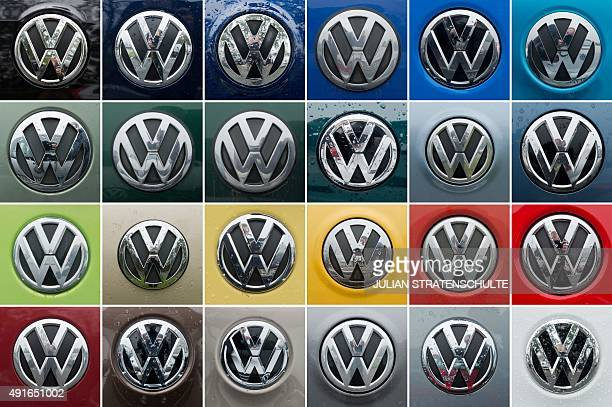 Combo of 24 pictures taken on October 7 2015 shows the logo of German car maker Volkswagen on Volkswagen cars in different colors standing on a...