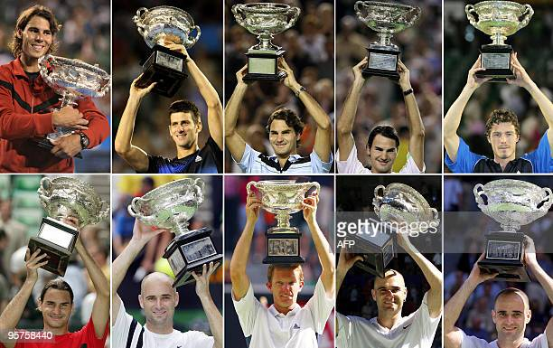 A combo of file pictures created on January 14 2010 show the men's singles winners from the Australian Open tennis tournament in Melbourne over the...