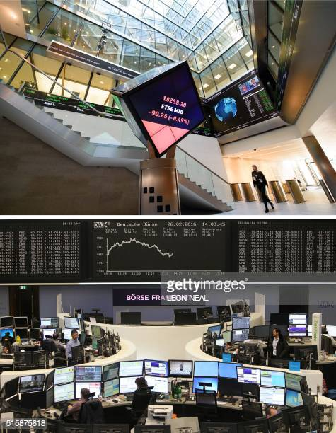 Combo of file pictures shows the central atrium of the London Stock Exchange LSE and floor trading at the Deutsche Boerse German stocks operator...