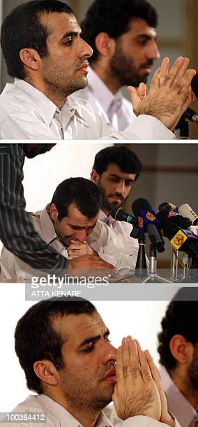 A combo of file pictures taken on August 25 2009 shows Abdolhamid Rigi a top Sunni rebel of the shadowy Jundallah group reacting during a press...