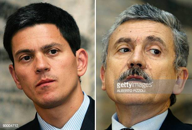 A combo of images of British Foreign Secretary David Miliband attending a press conference at the Farnesina in Rome on September 6 2007 and Italy's...