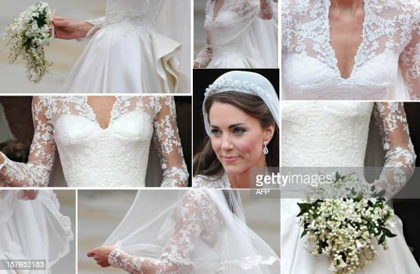 A combo of images showing Kate Duchess of Cambridge's wedding dress and jewellery as she steps out of Westminster Abbey in London after marrying...