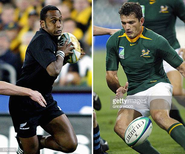 combo of pictures Halfback Joost van der Westhuizen of South Africa taken during the Rugby World Cup match between South Africa and Uruguay on 11...