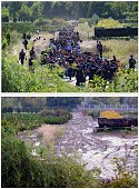 A combo of pictures shows a situation at the border on September 21 2015 near Zakany railway station as more than five thousand migrants crossed the...