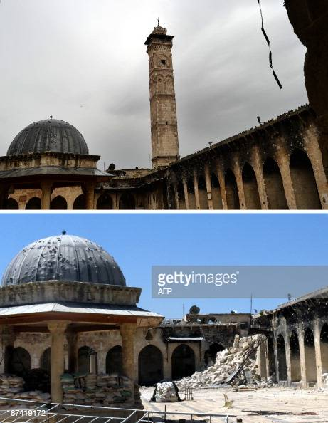 A combo of pictures shows the minaret of Aleppo's ancient Umayyad mosque in the UNESCOlisted northern Syrian city on April 16 and the rubble after it...