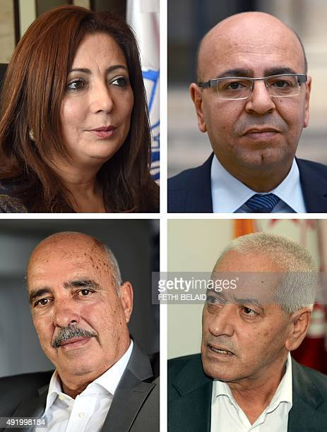 A combo of pictures taken on October 9 2015 January 7 2015 in Tunis shows President of the Tunisian employers union Wided Bouchamaoui Tunisian lawyer...