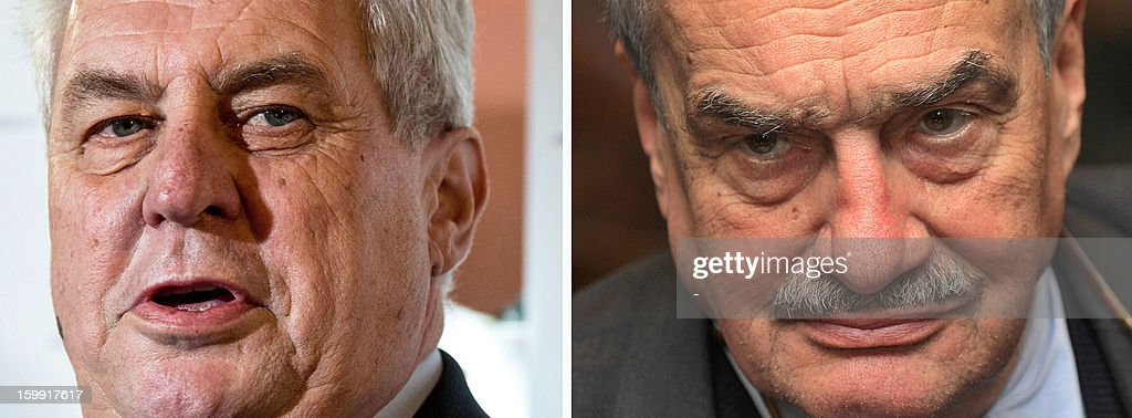 A combo of recent file pictures shows former Czech Prime Minister and presidential candidate Milos Zeman (L) and Foreign Minister Karel Schwarzenberg (R) who will face off in the January 25-26 presidential runoff in the country's first-ever direct vote for a head of state.