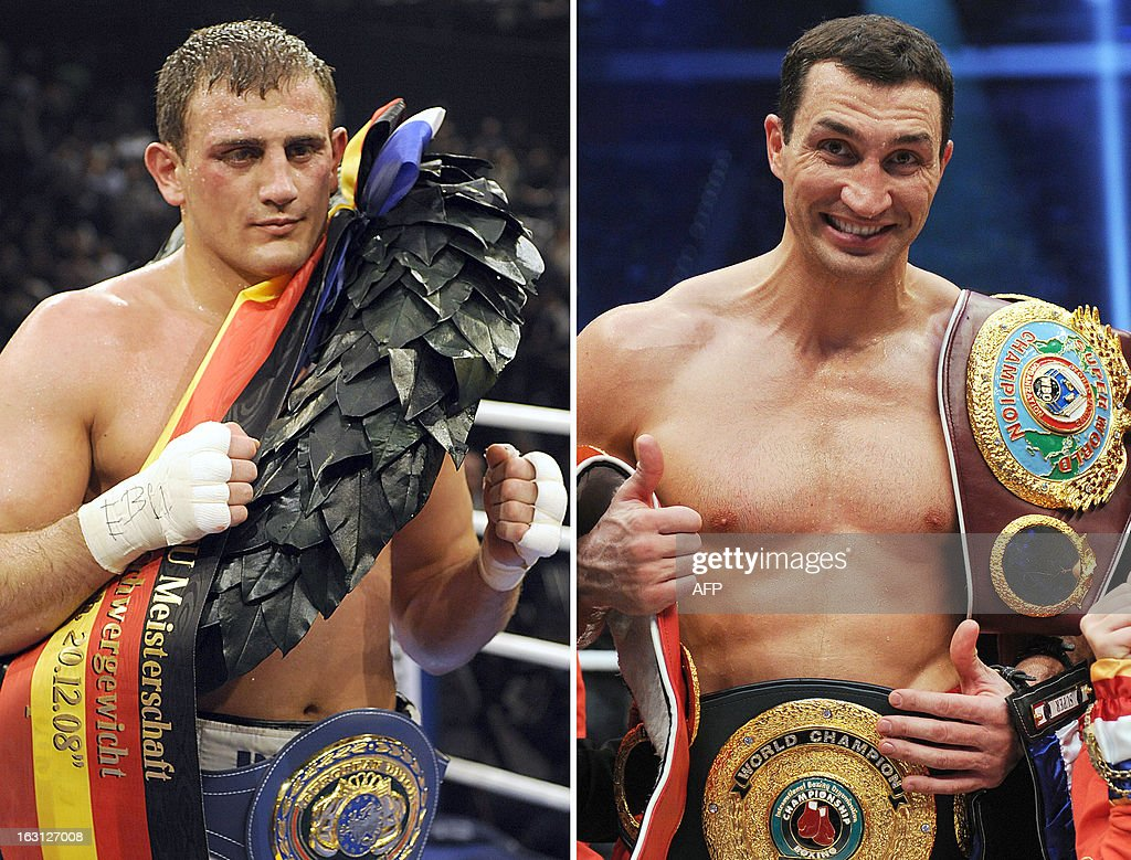A combo of recent file pictures shows heavyweight boxers Germany's Francesco Pianeta and Ukraine's Wladimir Klitschko. World heavyweight champion Wladimir Klitschko will defend his four belts against cancer survivor Francesco Pianeta on May 4, 2013 in Mannheim, western Germany, Klitschko's management has announced on March 4, 2013. STOLLARZ