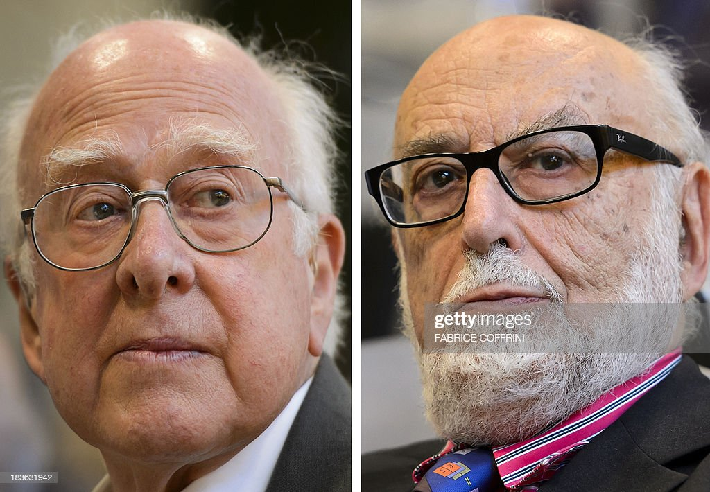 A combo of recent pictures taken on July 4, 2012 at European Organization for Nuclear Research (CERN) offices in Meyrin near Geneva shows British theoretical physicist Peter Higgs (L) and Belgian theoretical physicist Francois Englert who were awarded laureates of the 2013 Nobel Prize in Physics during a press conference on October 8, 2013 at the Nobel Assembly at the Royal Swedish Academy of Sciences in Stockholm. COFFRINI