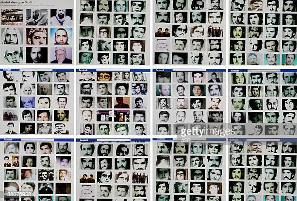 A combo of reproduction pictures taken on February 2 2012 in the Lebanese capital Beirut shows portraits of people allegedly killed during the 1982...