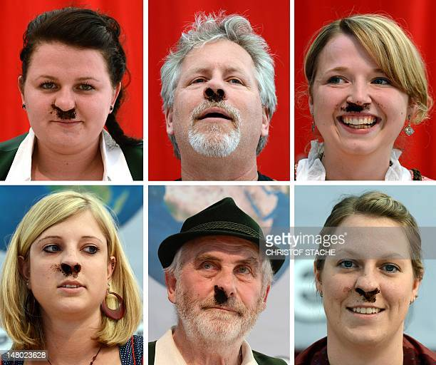 Combo of six pictures shows participants of the Snuff World Championship sniffing smokeless tobacco on July 7 2012 in Peutenhausen southern Germany...