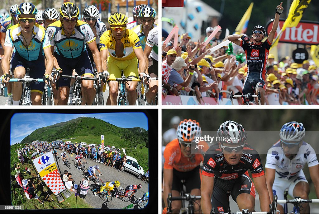 Combo of the day made on July 11 2009 during the 176 km and eighth stage of the 2009 Tour de France cycling race run between AndorrelaVella and...
