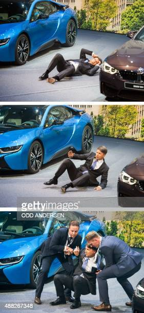 Combo of three pictures shows CEO of BMW Harald Krueger fainting and being assisted to get up during a presentation at the 66th IAA auto show in...