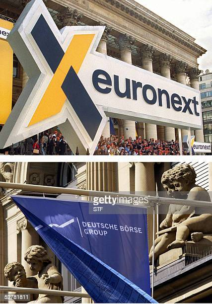 A combo of two file pictures showing a giant Euronext sign displayed in front of the former Paris stock exchange premises and a flag flaunting in...