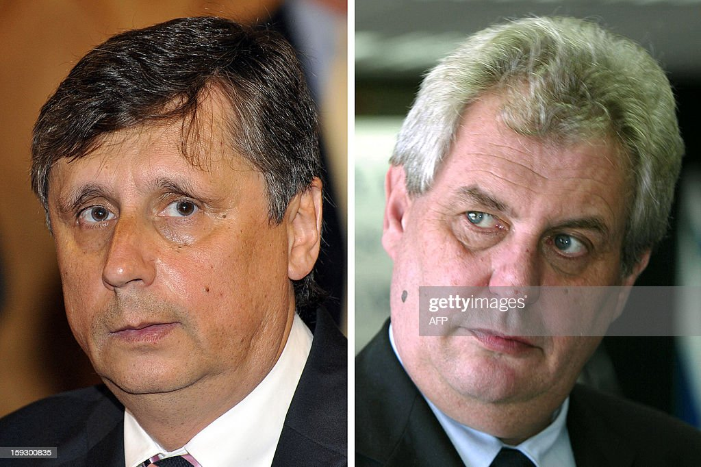 Combo of two file pictures shows former Czech prime ministers Jan Fischer (L, August 24, 2009 in Budapest) and Milos Zeman (February 18, 2002 in Tel Aviv). The two ex-prime ministers, both former Communists, are tipped as favourites to top a list of nine first-round candidates in the Czech Republic's first-ever direct presidential election to take place on January 11 and 12, 2013.