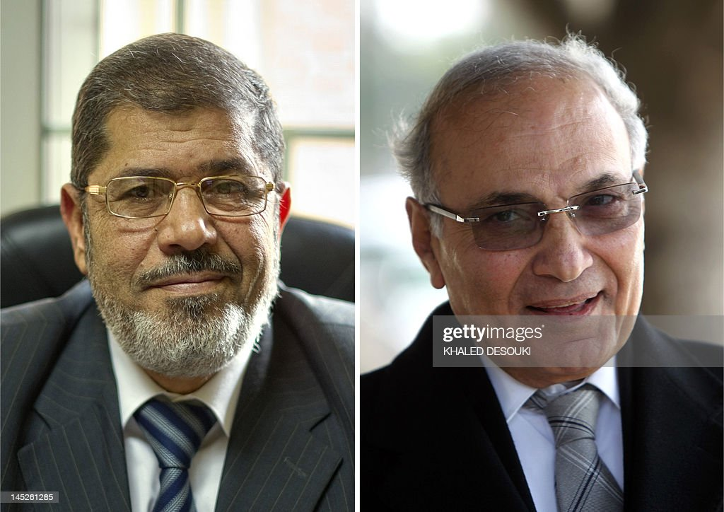 A combo of two file pictures shows Muslim Brotherhood presidential candidate, Mohammed Mursi (L), at his office in Cairo on November 28, 2011, and former prime minister and presidential candidate, Ahmed Shafiq (R), in Cairo on March 10, 2012. Egypt looked set on May 25, 2012 for a run-off presidential vote pitting Mursi against Shafiq, according to tallies by the Islamist group.