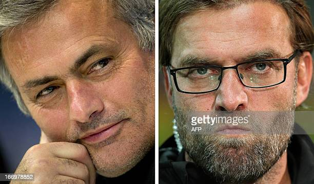 Combo of two file pictures shows Real Madrid's Portuguese head coach Jose Mourinho and Borussia Dortmund's head coach Juergen Klopp Real Madrid will...