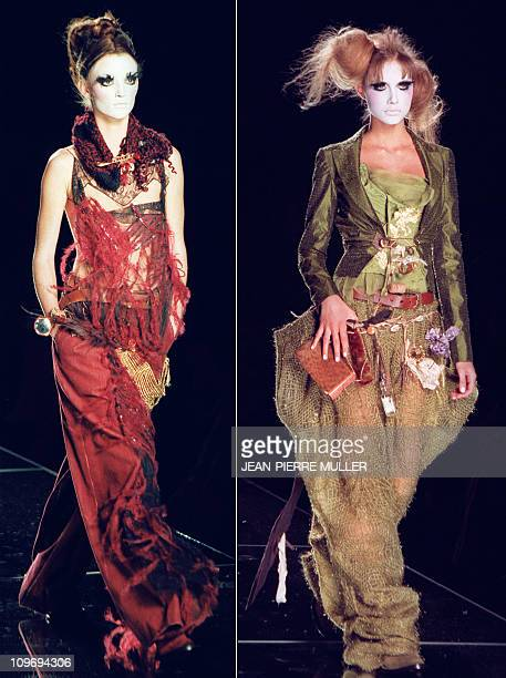 at left a burgundy embroidered silk taffeta and millefeuille of embroidered of silk organza pan suit at right an olive organza linen and gold lamé...