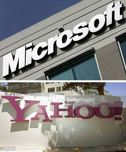 Combo of two pictures show the logo for Microsoft at their office in Herndon Virginia taken 27 December 2005 and The entrance of Yahoo headquarters...