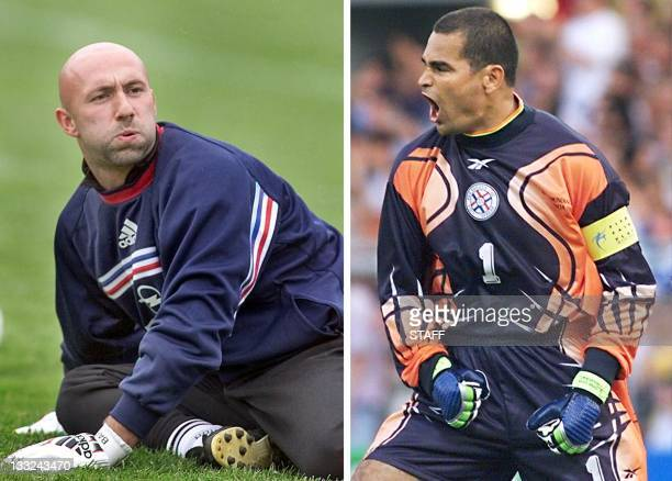 Combo of two pictures showing French goalkeeper Fabien Barthez and his Paraguayan counterpart Jose Luis Chilavert France will play Paraguay 28 June...