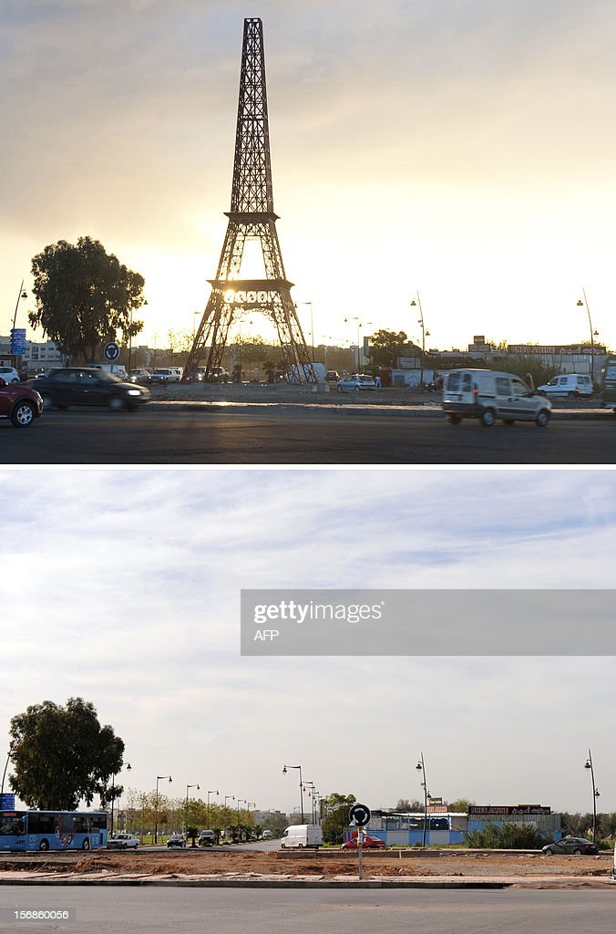 A combo of two recent pictures shows, before and after, the site where a replica of the Eiffel Tower was erected then disappeared in the Moroccan city of Fez on November 23, 2012. The nearly achieved replica suddenly disappeared without prior explanation from the municipality.