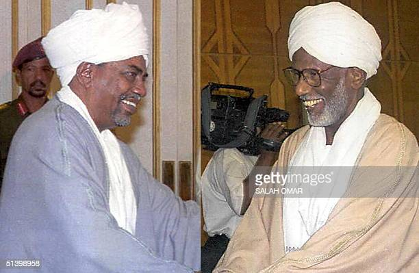 A combo of two recent pictures shows Sudanese President Omar alBeshir and his former ally Hassan alTurabi who lost his position as parliament speaker...
