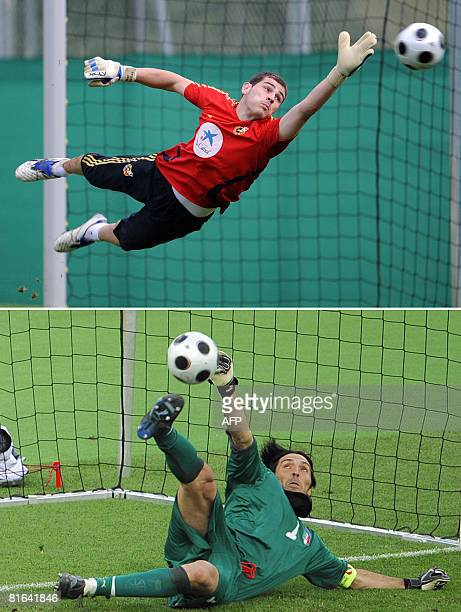 Combo photo shows Spain's goalkeeper Iker Casillas during a training session on June 12 2008 in Neustif near Innsbruck and Italian goalkeeper...
