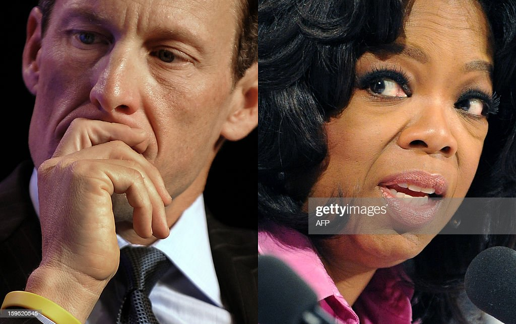 A combo picture made on January 15, 2013 in Paris, shows US talk-show star Oprah Winfrey (R) and US former Cycling champion Lance Armstrong. Lance Armstrong's reported admission to Oprah Winfrey that he used performance-enhancing drugs likely means he will go down in history as the most brazen drug cheat the sport has ever seen. The disgraced American cyclist's comments, reported January 14, 2013 by USA Today, rewrite 14 years of deception and repeated denials that he used banned substances to win scores of international races, including the Tour de France seven times. His years of dominance in the sport's greatest race raised cycling's profile in the United States to new heights and gave Armstrong a platform to promote cancer awareness and research. AFP PHOTO / TIMOTHY A. CLARY/TORSTEN BLACKWOOD