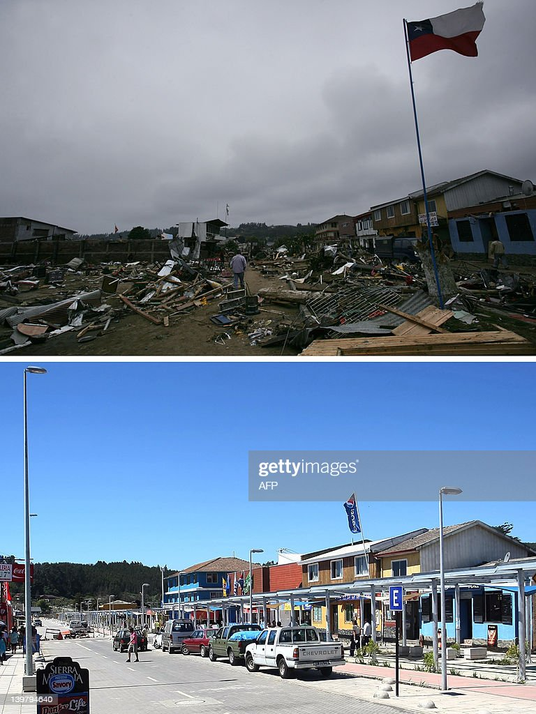 Combo picture of the massive destruction caused by a tsunami in Dichato some 30 km from Concepcion Chile taken on March 1 three days after a tsunami...