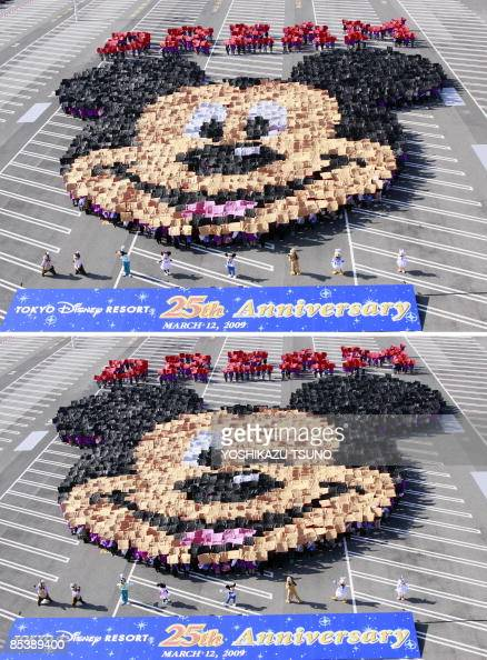 A combo picture shows 2500 guests raising color boards to form a face of Mickey Mouse and a wink of his eye for the 25th anniversary of the Tokyo...