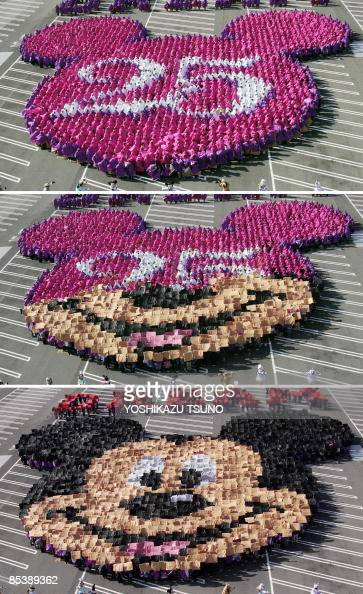 A combo picture shows 2500 guests raising color boards to form the face of Mickey Mouse for the 25th anniversary of the Tokyo Disneyland at the...