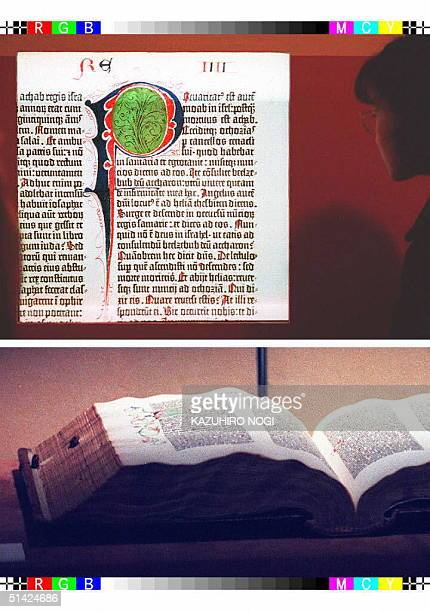 Combo picture shows an original 15th century Bible published by German inventor Johann Gutenberg and the same Bible processed through the latest...