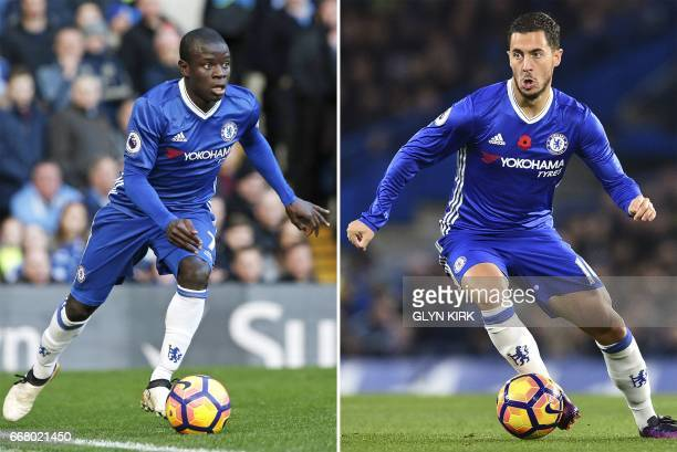 A combo picture shows Chelsea's French midfielder N'Golo Kante and Chelsea's Belgian midfielder Eden Hazard in action during Premier league matches...