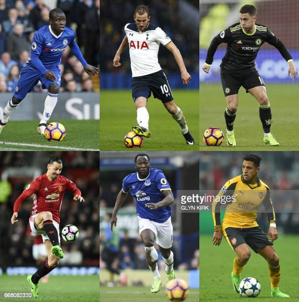 A combo picture shows Chelsea's French midfielder N'Golo Kante Tottenham's forward Harry Kane Chelsea's Belgian midfielder Eden Hazard and Manchester...