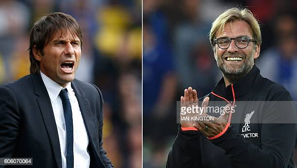 A combo picture shows Chelsea's Italian coach Antonio Conte and Liverpool's German coach Jurgen Klopp Chelsea play Liverpool on September 16 2016...