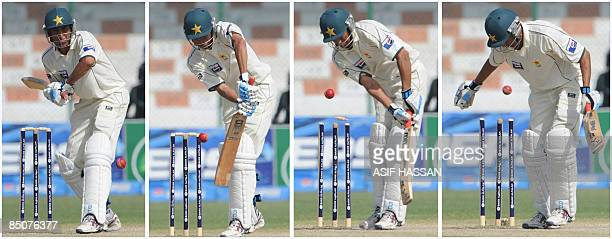 A combo picture shows Pakistani cricketer Younus Khan in action during the fifth and final day of the first Test match between Pakistan and Sri Lanka...