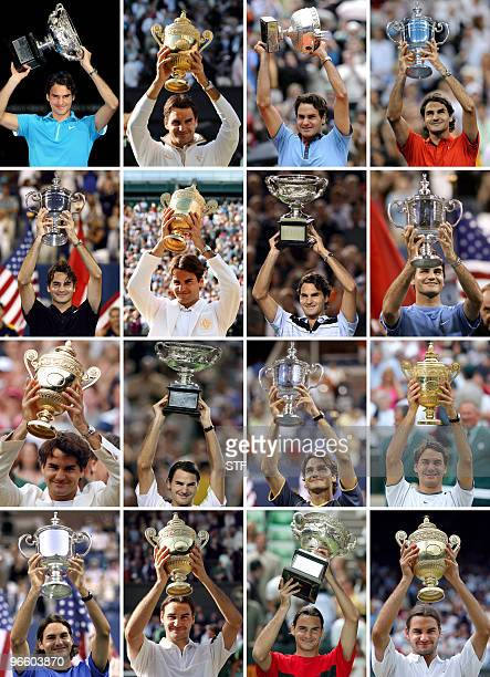 Combo picture shows tennis Roger Federer of Switzerland holding up his 16 Grand Slam titles Swiss great Roger Federer won his fourth Australian Open...