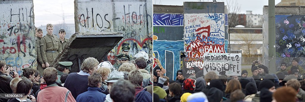 A combo shows a file photo taken on November 11, 1989 of West Berliners crowding in front of the Berlin Wall as East German border guards demolish a section of the wall in order to open a new crossing point between East and West Berlin, and a photo taken on March 1, 2013 of policemen facing protestors as a section of the East Side Gallery, a 1,3 km long remainder of the Berlin Wall, is being removed for a housing construction project near the city's east railway station in Berlin on March 1, 2013. Some 25 meters of this section of the wall that mostly came down 23 years ago and marked the end of the cold war are taken away to make way for a new housing development on river Spree, a project called Living Levels. As news of this spread activists and artists that had decorated this remaining part of the cold war relic known as the east side gallery came to protest. AFP PHOTO / GERARD MALIE / ODD ANDERSEN