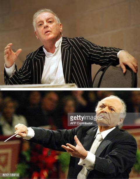 FILES Combo shows Argentinianborn Israeli conductor Daniel Barenboim giving a press conference after he concluded a three day event at the Jerusalem...