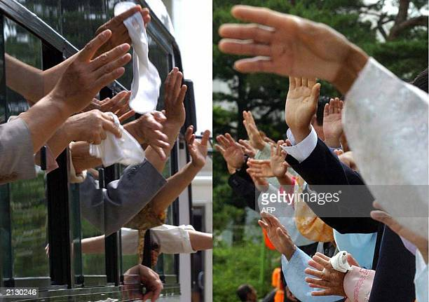 Combo shows South Korean and North Korean wave hand to their relatives just before her departure after the 7th Separated Family Reunion Meeting at a...