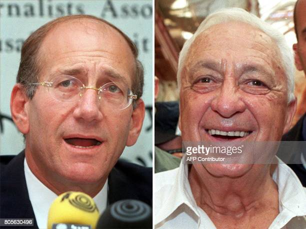 A combo shows two of the three candidates for the leadership of the opposition party Likud Ariel Sharon pictured in Jerusalem 26 August 1999 and Ehud...